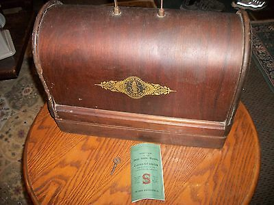 Singer 128 Antique Electric Sewing Machine Wood Case,  1919