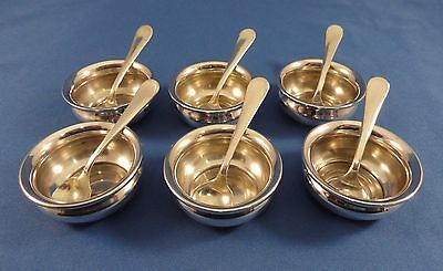 Antique SET of 6 STERLING Silver SALTS w/ Spoons