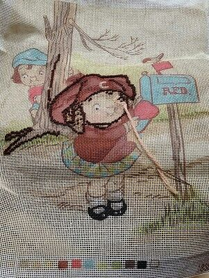 Vintage Campbell's soup Kids Unfinished Printed Needlepoint canvas and wool