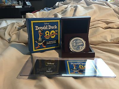 Niue 2014 Disney DONALD DUCK 80th Anniversary 1oz Silver Proof Coin in OGP