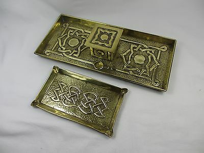 Two Celtic Style Arts & Crafts Hammered Brass Pen Tray With Lidded Box & Tray