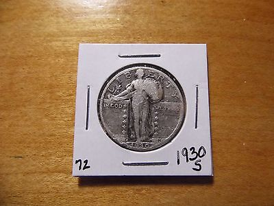 1930-S Standing Liberty Quarter 90% Fine Silver Good Condition with Free Ship