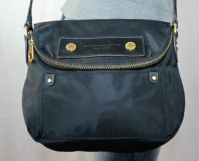 MARC JACOBS Black Small Canvas Leather Shoulder Hobo Cross Body Purse Bag