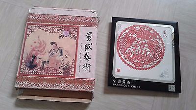 vintage paper cut Chinese picture signed with box