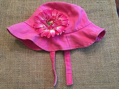Toddler Girls Pink Sunhat with Flower SZ Small