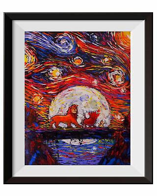 The Lion King Simba Lion King Poster Van Gogh Starry Night Wall Art Print A024