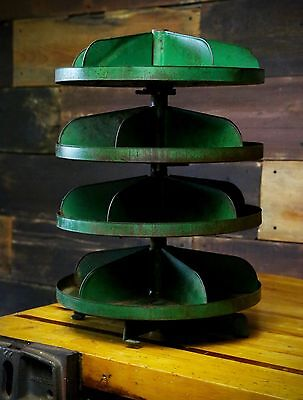 """Vintage Industrial Green Rotating Parts Cabinet Storage Cubby Bin Auto Shop 18"""""""