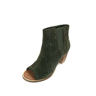 afa0d0fb63e Toms Women Booties Majorca Peep Toe Forest Green Suede Perforated Leaf  10010927