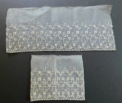 Pair of Lace Antique Cream Off-White Cuffs Organdy Embroidered