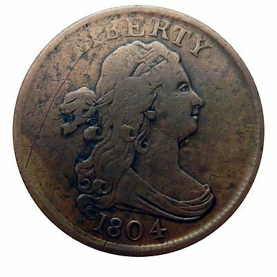 1804 Draped Bust Half Cent Penny Coin