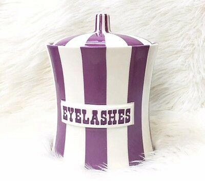 *SOLD OUT* Jonathan Adler Purple/White Canister Jar, Vice Collection, Eyelashes