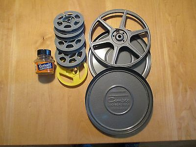 """Lot of 4 Vintage 3"""" Film Reels and 1 6"""" Metal Reel USA Made, All For 8mm Film"""