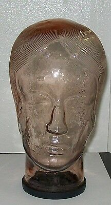 Vintage Pink Glass Retro Womans Head Hat Wig Display W Base Cap Life Size Hair