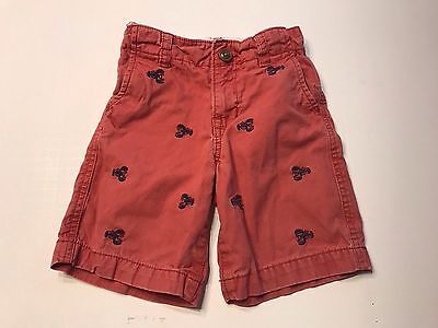 Boys BABY GAP 2T Red Shorts With Blue Lobsters Embroidered Adjustable Waist EUC