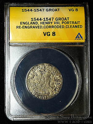 Henry VIII Great Britain Groat (4d) 1544-7 ANACS Certified S-2372 Bristol Rare