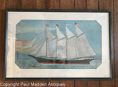 Antique Folk Art Ship Painting of the Alice R. Ray