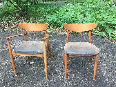 Pair Set 2 Danish Modern Teak? Dining Chairs Mid Century Side Arm