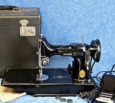 1949 Singer Featherweight 221 Sewing Machine, Case, New Foot Controller