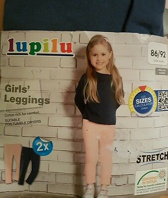 BNWT BABY GIRLS 2 PACK LEGGINGS BLUE AND PINK AGE 1-2 (12-24 months)