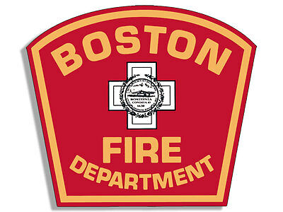 4x4 inch BOSTON FIRE DEPARTMENT Logo Shaped Sticker - bfd firefighter mass dept