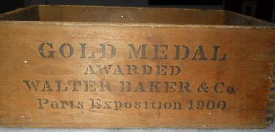 Antique Chocolate wooden box Gold Medal Award Paris Expo 1900 Nice