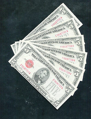 (6) Consecutive 1928-E $5 Red Seal Legal Tender United States Notes Unc