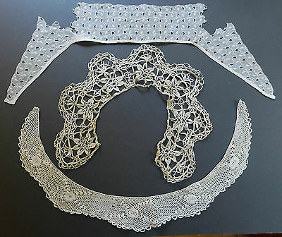 Lace Antique Cream Collar Lot Crochet Embroidery