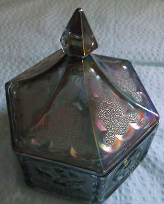 Vintage Indiana Glass Blue Purple Iridescent Candy Dish 1960s