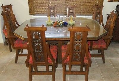 ~Mid Century Asian Inspired Hand Carved Teak Wood Dining Table Set~