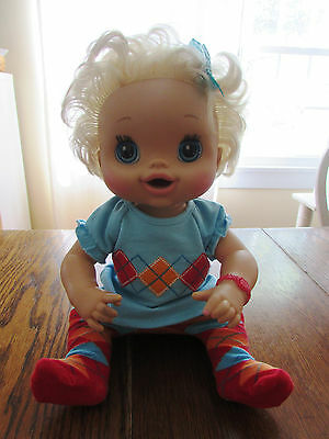 Baby Alive Blonde Doll Hasbro 2010 Talks wearing American Girl Outfit