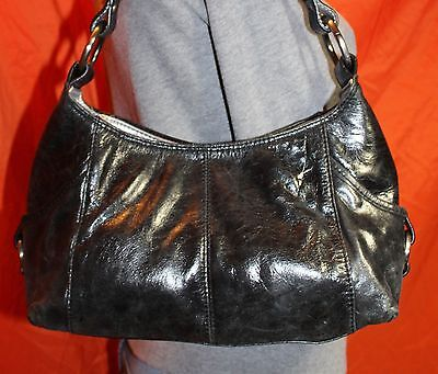 KENNETH COLE Black Small Medium Leather Shoulder Hobo Tote Slouch Purse Bag