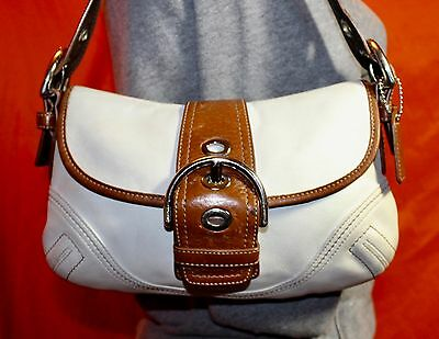 COACH White Brown Small Leather Shoulder Hobo Tote Satchel Slouch Purse Bag