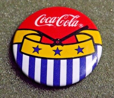 Coca Cola Coke Lapel Pin Button Clock Hands At 10:10 Yellow Bunting With Stars