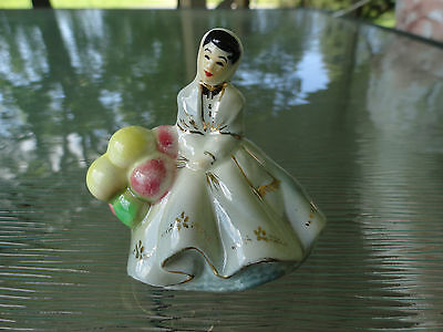 Rare Vintage Twin Winton Pottery Miniature Figurine Seated Woman with Balloons