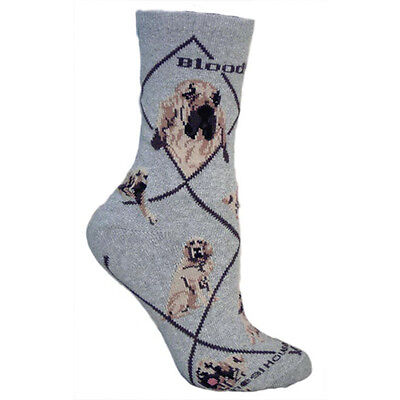 Bloodhound Dog Breed Gray Lightweight Stretch Cotton Adult Socks