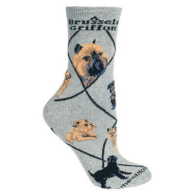Brussels Griffon Dog Breed Gray Lightweight Stretch Cotton Adult Socks