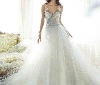 New White Ivory Sleeveless Wedding Bridal Formal Dress Gown