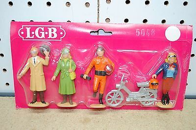 LGB 5048 Motorcyclist & Girl w/Moped & Traveler Figures *G-Scale* NEW