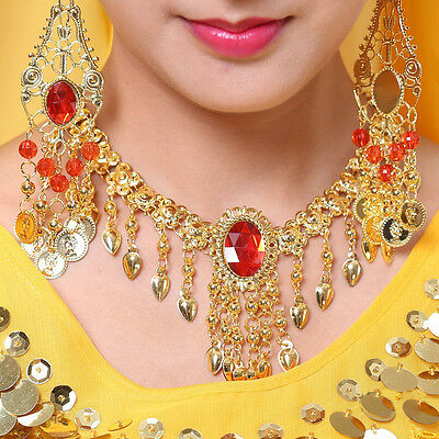 Golden Belly Dance necklace Indian Red Gem Pendant Head Chain dancing Costume