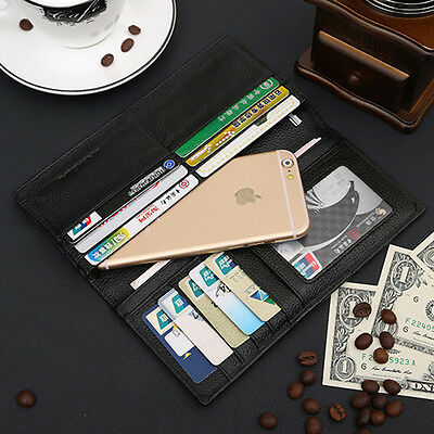 Men's Leather Clutch Business Long Wallet Purse Credit Card Holder Checkbook