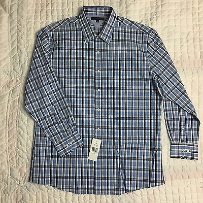 NWT Tommy Hilfiger Men's Dress Shirt XL 17/32/33 Blue Plaid Striped
