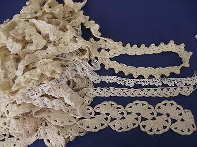 Lot 4 Patterns 11 Yards Antique Hand Crochet Cotton Lace Sewing Doll Dress Trims