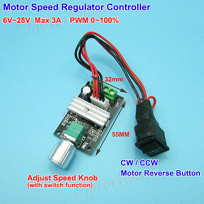 DC 6V~28V 3A PWM DC Motor Speed Controller CW CCW Reversible Switch Adjust Speed