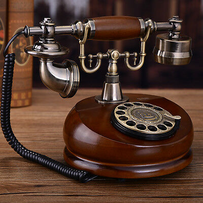 Simple retro European Antique phone Vintage rotary dial corded telephone F048