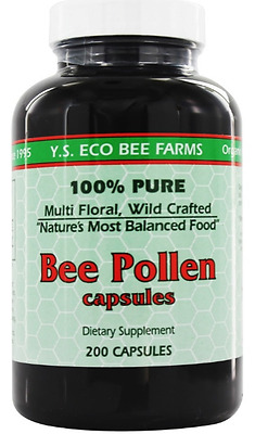 Pure Organic Bee Pollen YS Eco Bee Farms Wildcrafted 1000mg 200 capsules