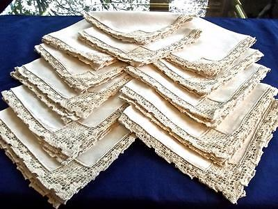 "11 Antique Italian Off-White Linen 18"" Rustic Dinner Napkins Hand Needle Lace"