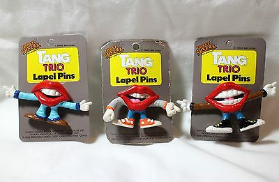 Vtg New Lot 3 Tang Drink Trio Lapel Pins 1988 Moveable Arms Novelty Retro 80's