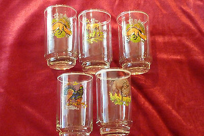 Set of (5) hand painted German shot glasses with animals
