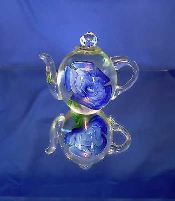Art Glass Tea Pot Blue Flower Paperweight by Dynasty Gallery