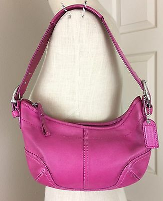 Small COACH Hot Pink Hobo Leather Bag/Purse #9541